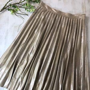 Anthropologie Maeve Gold Pleated midi skirt medium